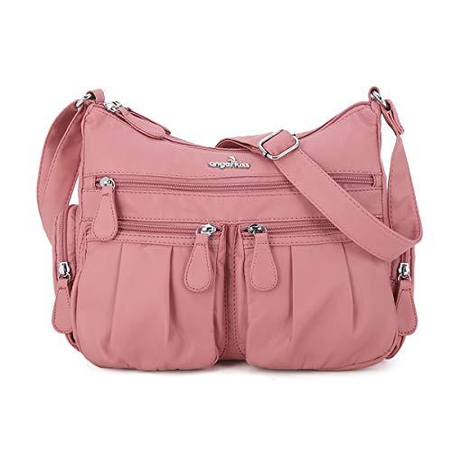 Multi Pocket Crossbody Bag for Women, Ultra Soft Washed Vegan Leather Shoulder Purse (AB1901-23#91PINK)