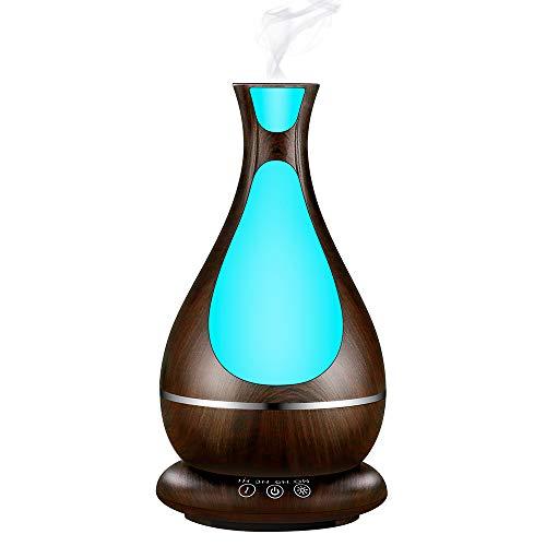 Shengy 400 ml geurdispenser met laag lawaai, automatische uitschakeling, timer, luchtbevochtiger met ultrasone led, 7 kleuren, voor kantoor, yoga, slaapkamer, A