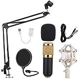 Amuzocity Micrófono de Condensador de Podcast de Micrófono de Cardio de Computadora USB para Grabar - Negro