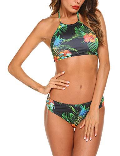 Ekouaer Womens Forest Leaves Printing High Neck Halter Bikini Set Swimsuit, 5446_black, Medium