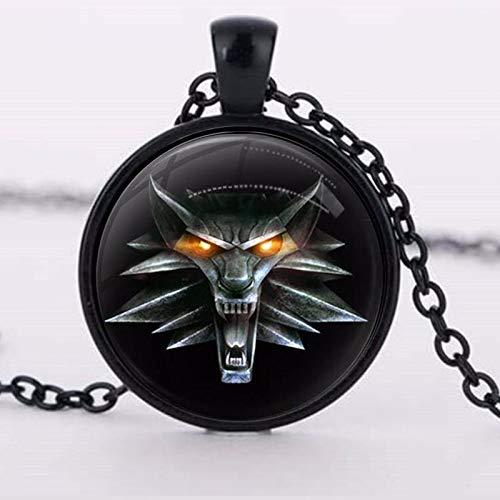 The Witcher - Collar con colgante de cristal de cabujón con amuleto salvaje de caza de 3 figuras de...