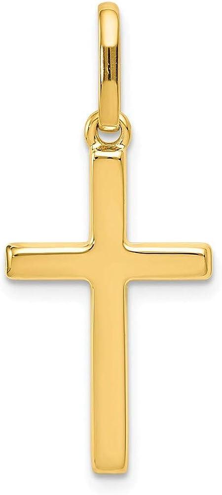 14k Yellow Gold Cross Pendant Charm - 30mm x 13mm