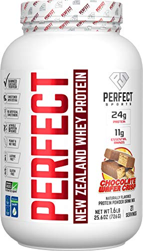 PERFECT Sports, Perfect New Zealand Whey Concentrate, Grass-Fed & Pasture Raised 1.6LB Chocolate Wafer Crisp
