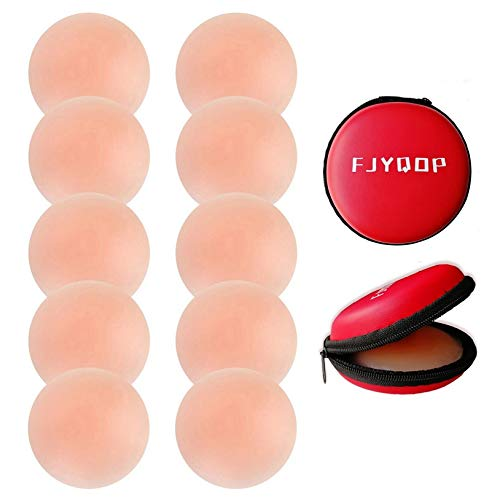 Silicone Nipple Covers - 5 Pairs,Women's Reusable Nippleless Pasties Breast Round Invisible