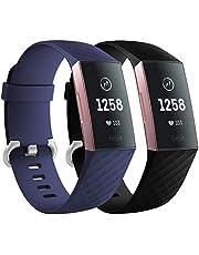 Faliogo 2 Stuks Vervangende Band Compatibel met Fitbit Charge 3 Bandje/Fitbit Charge 4 Bandje, Zachte Sport Bandje Polsbandjes voor Dames Heren, Klein Groot