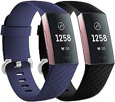 Faliogo 2 Stuks Vervangende Band Compatibel met Fitbit Charge 3 Bandje/Fitbit Charge 4 Bandje, Zachte Sport Bandje...