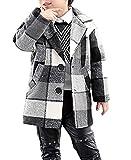 Boys Black Green Plaid Checked Wool Coat Winter Warm Long Jacket Outwear (Black, 12)