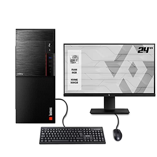 INVENTIVE W700 - Pc fisso desktop intel i7 10700 fino a 4.80 Ghz,Ram 8Gb Ddr4,Ssd m.2 500 gb,Wifi,Monitor 24',Windows 10 Pro,Accessori,Computer intel 10TH assemblato completo Ufficio