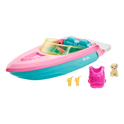 Barbie GRG29 - Boot met puppys en accessoires - Ruimte voor 3 poppen - Drijft op het water - Geweldig cadeau voor kinderen van 3 tot 7 jaar, Multi-color