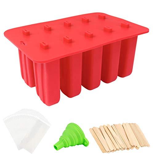 Giftt 10 cavidades Moldes para paletas de Hielo Hechos en casa, Jugo de Silicona Reutilizable de Grado alimenticio Moldes para paletas de Hielo sin BPA, Contiene 100 palitos de paletas