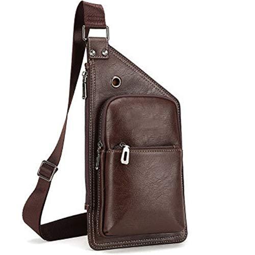 HHTD Bolsa de Hombro, Mochila de Mensajero de Hombros, Bolsa de Pecho Impermeable, luz y Ocio, Mochila (Color : Brown)