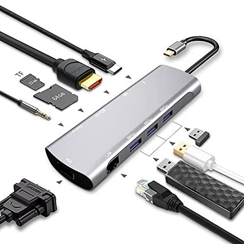 Magic Eye Hub USB C 10 en 1, Adaptador USB C con HDMI 4K, USB-C Power Delivery, 1080P VGA, RJ45 Gigabit Ethernet, Lector de Tarjetas SD/TF, USB 3.0, 3.5mm de Salida de Audio para Macbook Pro y Otros