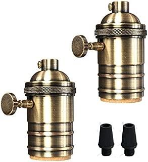 EFINEHOE Efine 2 Pack E26/ E27 Solid Brass Industrial Light Socket Vintage Edison Pendant lamp copper holder With Switch (Antique Brass)