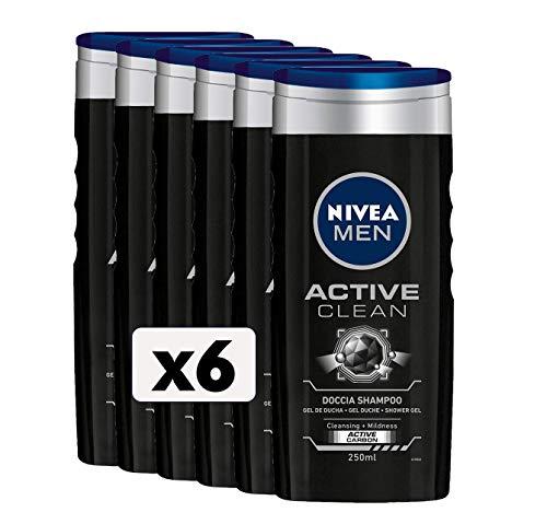 NIVEA MEN Active Clean - Champú de ducha para hombre, 6 x 250 ml, gel de ducha para cuerpo, cara y cabello, champú para hombre con carbón activo natural