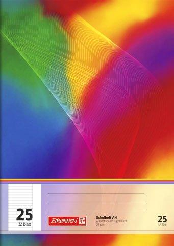 papieto Schulheft/Schreibheft/Rechenheft (Din A4 / 32 Blatt) LINEATUREN FREI WÄHLBAR (Lineatur 25)