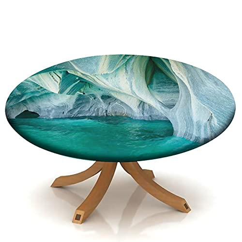 Fitted Round Tablecloth with Elastic Marble Caves Lake Nature Turquoise Grey, Stone Texture Round Table Cover for Picnic Indoor Outdoor Dining Table Fits Table 24' to 34'