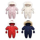 YQSR Mono de nieve para bebé de forro polar de invierno con capucha