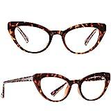 GRFISIA Blue Light Blocking Cat Eye Glasses, Women TR90 Lightweight Design Eyeglasses/Anti Eye Strain,Computer,Gaming,Headache,Sleep Better (1030 xiao Leopard Frame)