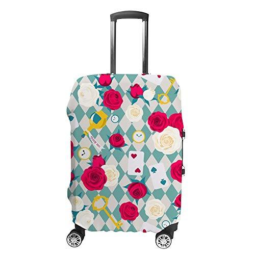 Ruchen - Funda protectora para maleta, diseño de rosas con texto en inglés 'Alicia en el país de las maravillas azules', para maletas de varios tamaños