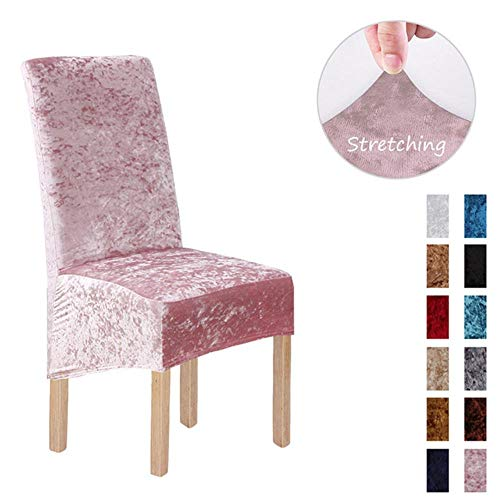 AOM Crushed Velvet Fabric Stretchable XL Chair Covers for Dining Chairs Wedding Banquet Party Chair Protective Slipcover,Pink,China