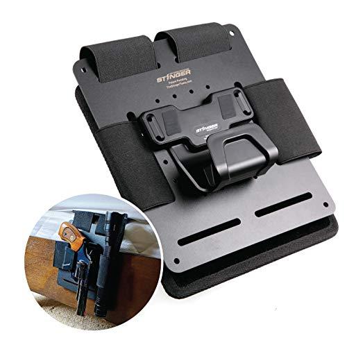 Tactical Bedside Holster w/ Magnetic Gun Mount: Safety Trigger Guard Protection, Bedside Backup, Bedside Pistol / Handgun Holster, Mattress Holster, Magazine and Flashlight Loop, Under Desk, Couch