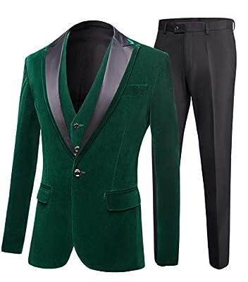 Men's One Button Royal Blue Suit Velvet Jacket Black Vest Pants Wedding Suits Groom Tuxedos