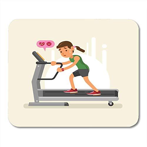 Muispads sportmoe uitputte vrouw op loopband oefening moe muismat