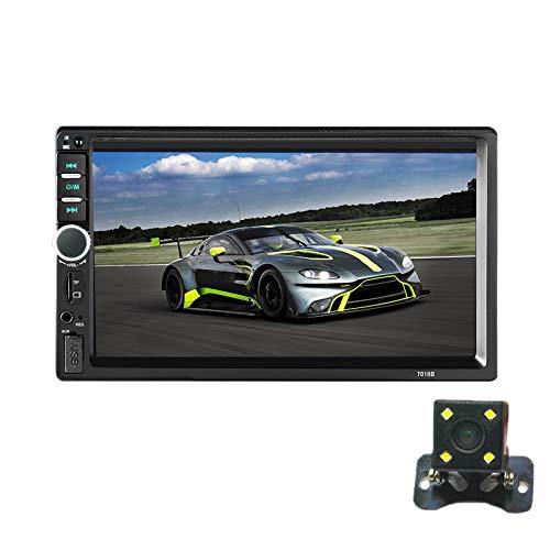 OVBBESS 2 DIN Car MP5 Player 7 Pulgadas LCD Pantalla de Prensa Multimedia Car Radio Soporte CáMara de VisióN Trasera 7018B