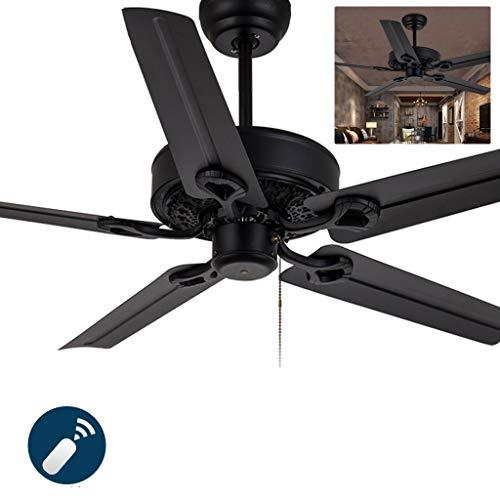 Retro Industrial Style Deckenventilator, für Home School Commercial Bedroom Wohnzimmer, mit Remote & 5 Metallklingen (Color : Black)