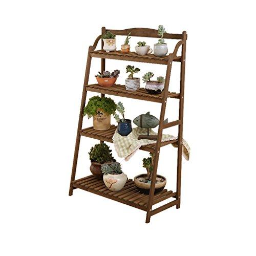 Houten Bloem Stand 4-tier Vloerstaande Bloempot Plant Display Plank Vetplanten Rack Hoge En Lage Bonsai Stand Balkon Woonkamer Bruin Vintage Binnen Buiten Eenvoudig (Maat: 40cm, 70cm)