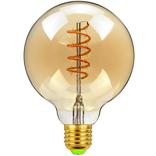 EDISON Classic G95 Spirale Design Soft LED Filament Bernstein Farbe 4 W Dimmbar 220/240 V E27 Sockel Vintage Leuchtmittel