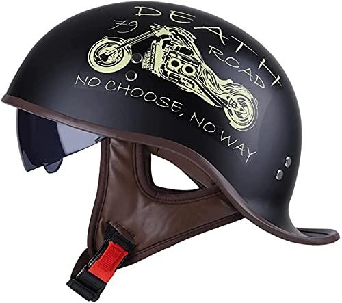 Lsqdwy Casco semicasco de moto para adultos, homologado DOT, estilo vintage, para hombres y mujeres (57-62 cm)