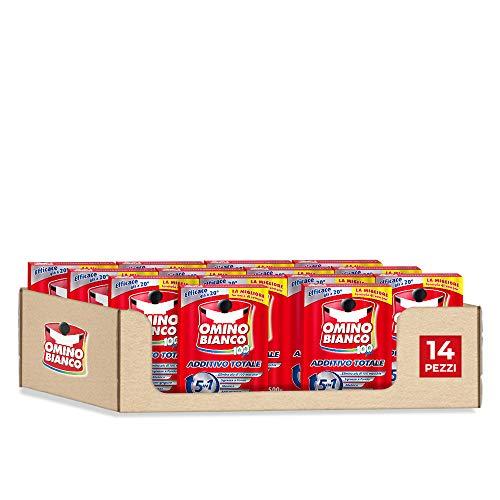 Omino Bianco Additivo Lavatrice Totale 5 Azioni in 1 per Bucato, in Polvere, Smacchiante e Igienizzante, 14 Confezioni x 500 g