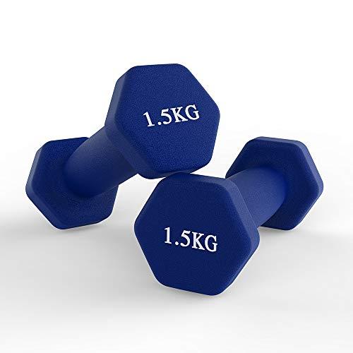 Neopren-Hanteln für zu Hause, Fitnessstudio, Fitness, Hanteln, Set mit 2 Hanteln – (blau, 1,5 kg)