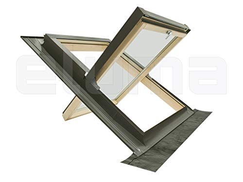 Ventana para tejado (completa) modelo COMFORT BILICO/Certificada y altamente aislante/Apertura giratoria tipo Velux/Vidrio antigranizo + Vidrio de seguridad/Aluminio y Madera (55x78 Base x Altura)