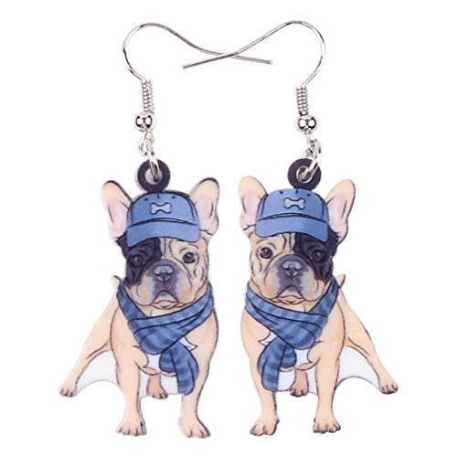 Bonsny Acrylic Drop Dangle French Bulldog Earrings Five Color Funny Design Lovely Gift For Girl Women Jewelry(Blue)