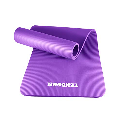 10mm Thick High Density Floor Exercises Mat Anti-Tear Fitness Pilates Mat with Carry Straps Tenboom Yoga Mats for Women and Man