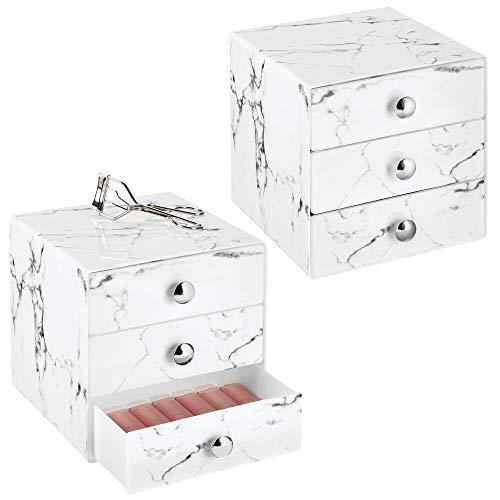 mDesign Juego de 2 cajas de belleza – Organizador de maquillaje con 3 cajones para sombra de ojos, labiales y más – Cajonera de plástico para organizar maquillaje en el baño – color mármol