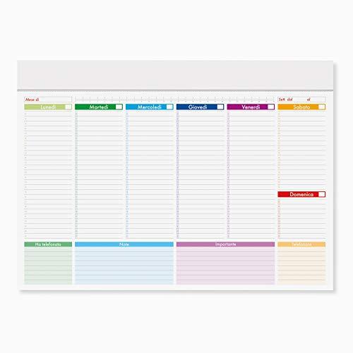 Planning da Tavolo 52 fogli - Planner Settimanale - Organizer a strappo - Agenda appuntamenti ed impegni Perpetuo senza data (Planning 43 x 31 cm)