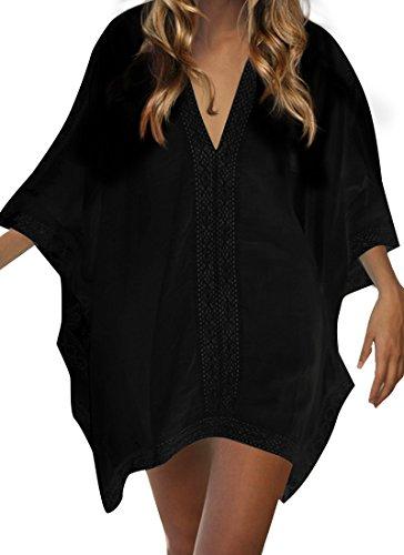 Walant Robe de Plage pour Femmes V-Cou Bikini Cache-Maillots Taille Unique Coton mélangé Dentelle Chemise Robe Couvrir Beach Maillots de Bain Cover Up, A-nior, Taille unique