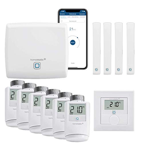 Homematic IP Funk Smart Home Heizungssteuerung Komplettpaket für 6 Heizkörper mit kostenloser Smartphone App. Inhalt: Zentrale, 6 Heizkörperthermostate, 4 Tür-Fensterkontakte, 1 Wandthermostat.