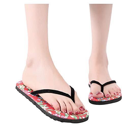 Luckycat Mujer Flores Playa Zapatos Transpirables Sandalias Inicio Zapatillas Chanclas Zapatos Planos