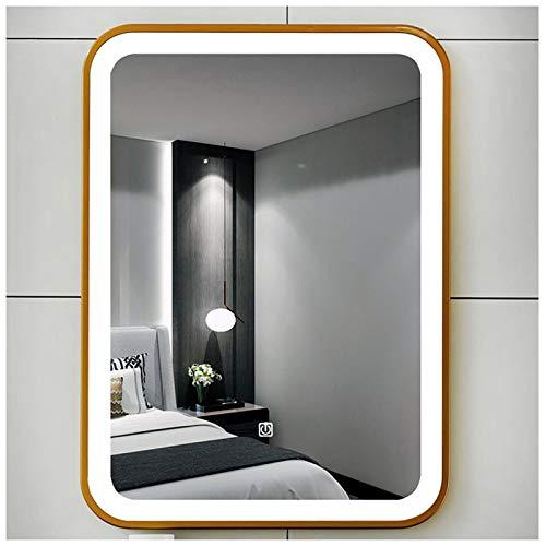 Y&J Espejo Led Baño, Espejo con Luz Pared, Espejo Maquillaje Decorativos, Luz de Dos Colores, Antivaho, Marco Dorado