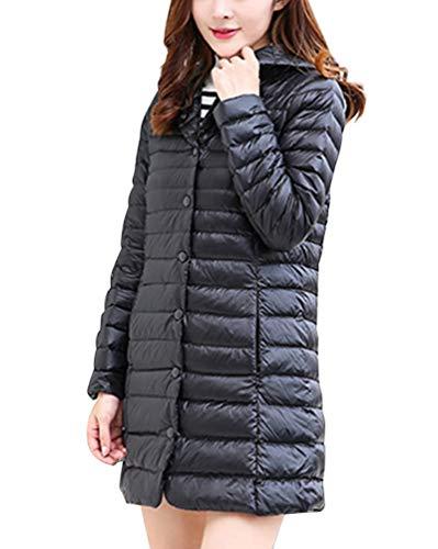 Daunenmantel Mit Kapuze Ultra Leicht Winter Jacke Mittellange Daunenjacke Outdoor Schwarz M