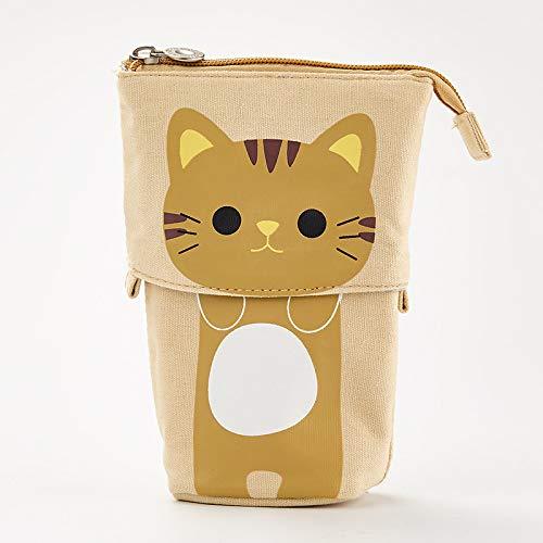 Estuche para lápices, diseño de oso de gato, oveja, plegable, organizador de papelería, regalo para niños (color: gato amarillo)