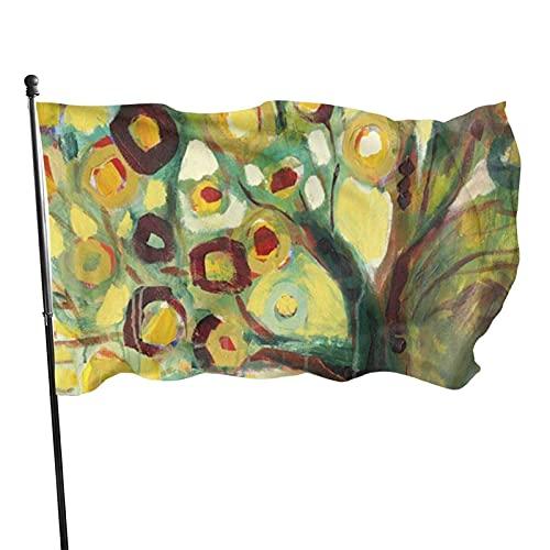 GOSMAO Bandera de jardín Árbol en otoño Color Vivo y Resistente a la decoloración UV Bandera de Patio Cosida Doble Bandera de Temporada Banderas de Pared 150X90cm