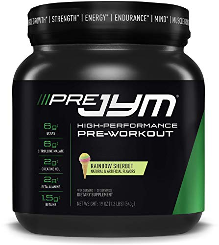 JYM Supplement Science Pre Jym Rainbow Sherbet, Black, 20 Count, PRE20PS300