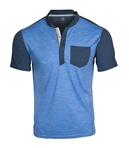 Douches Pass Europa douches Pass lichtgewicht ademende mannen Hi-Line Merino wol korte mouw Shirt (sterk blauw, groot)