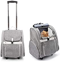 Lollimeow Pet Rolling Carrier, Dog Backpack with Wheels,Cats,Puppies Travel Bag with Wheels,Dog Trolley(Grey)