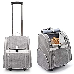 Lollimeow Pet Rolling Carrier, Dog Backpack with Wheels,Cats,Puppies Travel Bag with Wheels,Dog Trolley Airline Approved(Grey)
